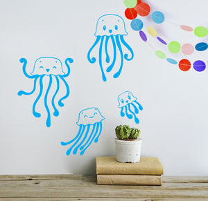Child's Jellyfish Wall Sticker Set - living room