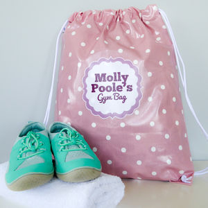 Pink Spotty Oilcloth Kit Bag