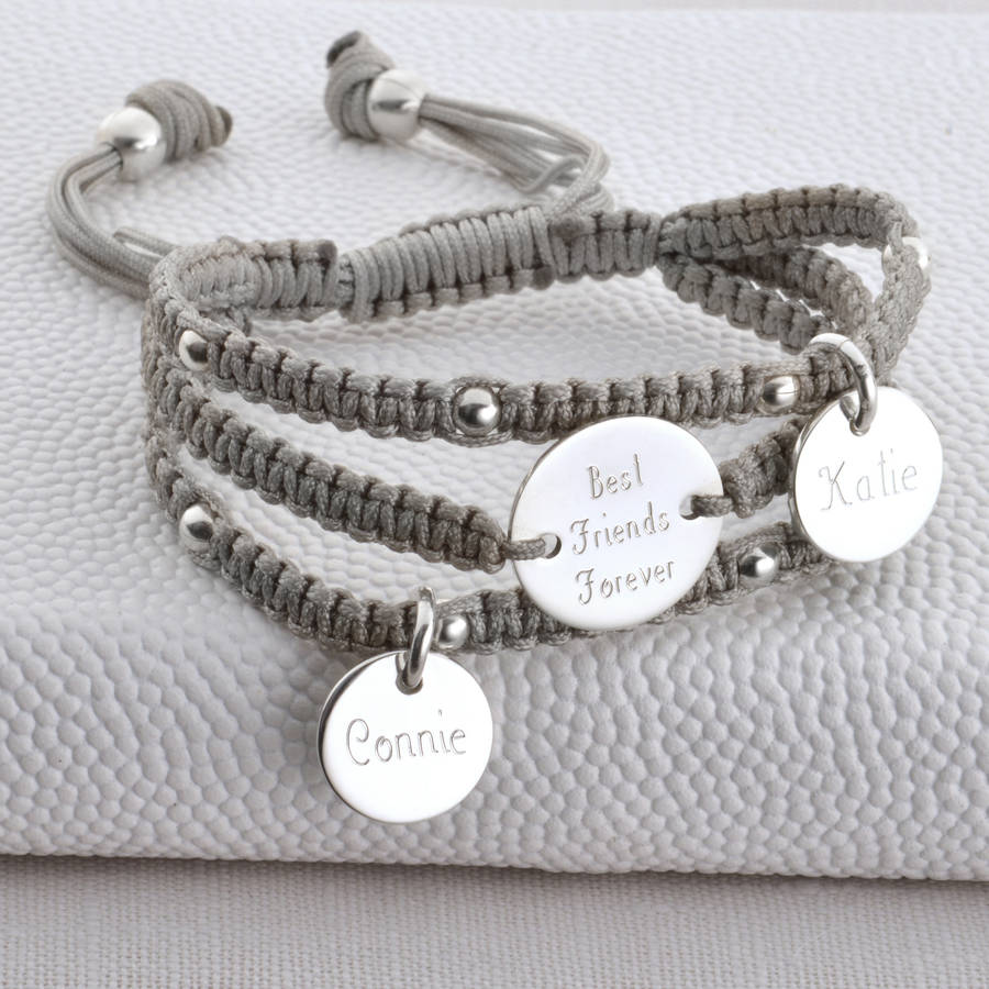 bangle personalized hurleyburley charm friendship original silver bangles personalised triple by bracelet and strand bracelets product