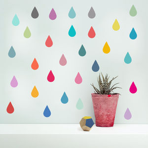'Raindrop' Vinyl Wall Stickers - office & study