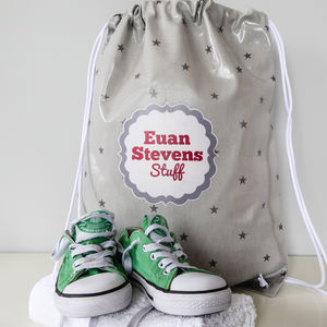 Grey Stars Oilcloth Kit Bag