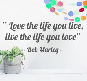 'Love The Life You Live' Quote Wall Sticker - wall stickers