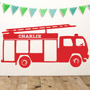 Personalised Fire Engine Vinyl Wall Sticker