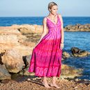 Fuchsia Pink and Purple Flared Maxi Dress