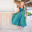 Green Blue Flared Maxi Dress