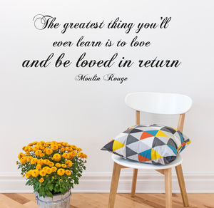 'The Greatest Thing' Quote Vinyl Sticker - wall stickers