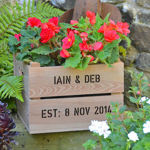 Personalised Square Planter Crate - pots & planters