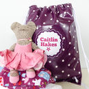 Purple Spotty Oilcloth Kit Bag