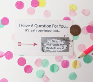 Will You Be My Maid Of Honour Scratchcard - be my bridesmaid?