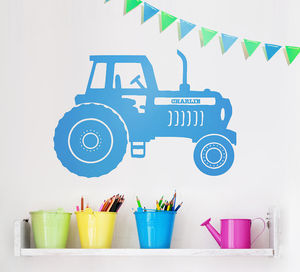 Personalised Tractor Vinyl Wall Sticker - children's room