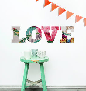 'Love' Floral Vintage Style Wall Sticker - living room