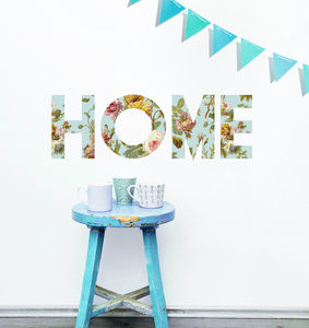 Floral 'Home' Wall Sticker - wall stickers