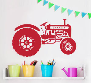 Personalised Children's Tractor Wall Sticker - children's room accessories