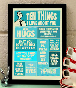 Ten Things I Love About You, Print For Him - prints & art