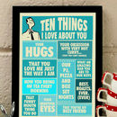 Ten Things I Love About You, Print For Him