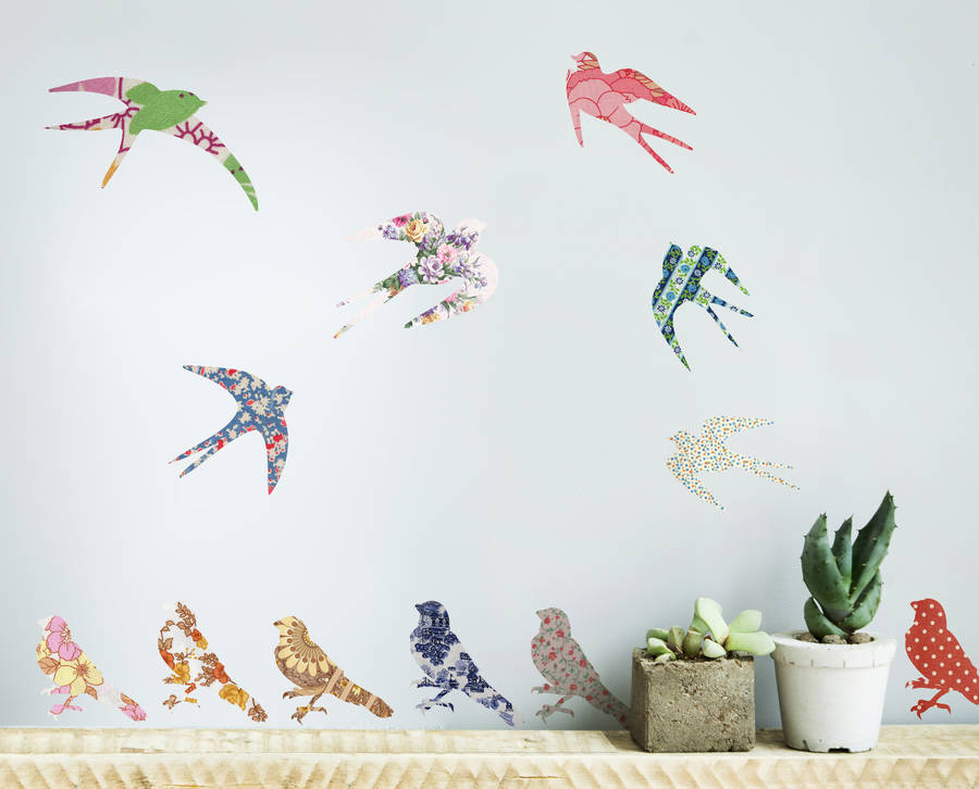 vintage bird vinyl wall stickers by oakdene designs vintage bed border wall sticker wall stickers