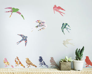 'Vintage Bird' Vinyl Wall Stickers - wall stickers by room