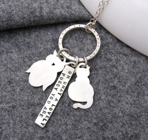 Personalised Owl And Pussy Cat Necklace