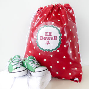 Red Spotty Oilcloth Kit Bag
