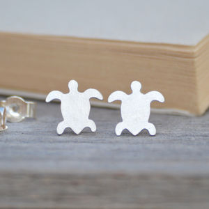 Sea Turtle Earring Studs In Sterling Silver - earrings