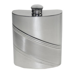 Diagonal Stripe Hip Flask With Personalisation
