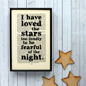 'I Have Loved The Stars Too Fondly' Book Page Art