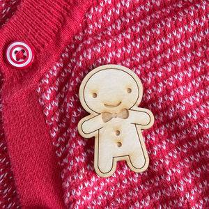 Happy Wooden Gingerbread Man Cookie Brooch