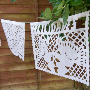 Paper Wedding Bunting From Mexico Handmade - outdoor decorations