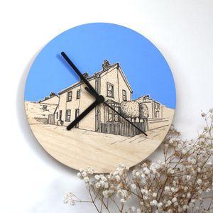 Bespoke Hand Coloured House Portrait Clocks