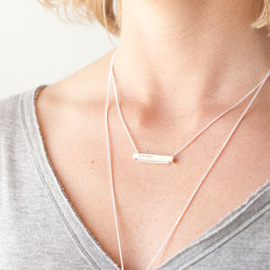 Silver Bar Roman Numerals Necklace