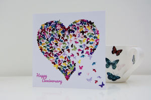 Wedding Anniversary Kaleidoscope Butterfly Heart Card - anniversary cards