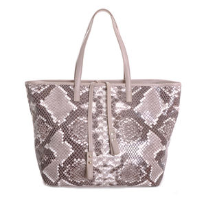 The Serafina Tote In Taupe And Cream Snakeskin