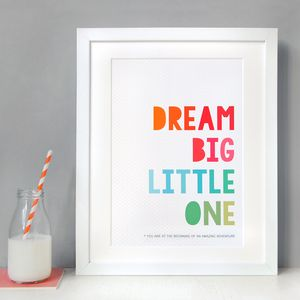 Personalised Dream Big Little One Print - home accessories