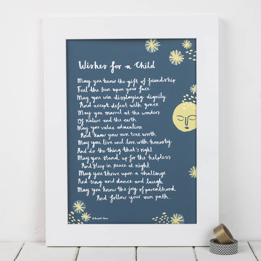 'wishes for a child' christening print from godparent by ...
