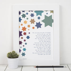 'Wishes For A Child' Christening Poem Print - children's pictures & paintings