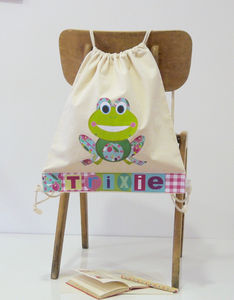 Girls Personalised Frog Drawstring Bag