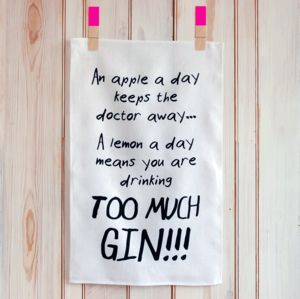'A Lemon A Day/Too Much Gin' Tea Towel