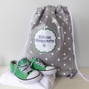 Grey Spotty Oilcloth Kit Bag
