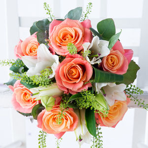 Vintage Rose And Lily Fresh Flowers Bouquet - fresh flowers