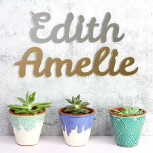Mirrored Acrylic Name Sign - gifts for babies