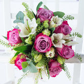 Vibrant Rose And Lily Fresh Flowers Bouquet - home