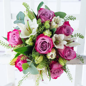Vibrant Rose And Lily Fresh Flowers Bouquet - flowers & plants