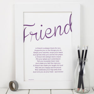 My Friend Poem Print - typography