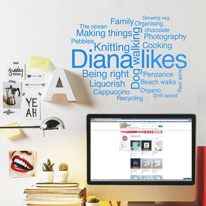 Personalised '' Word Cloud Wall Sticker - home decorating
