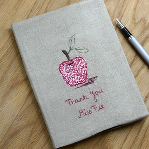 Personalised Embroidered Teacher Notebook Apple - gifts for teachers