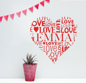 Personalised Love Heart Vinyl Wall Sticker - decorative accessories