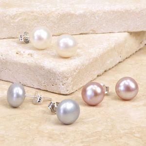 Sterling Silver Freshwater Pearl Earrings - 30th anniversary: pearl