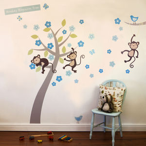 Boys Pastel Monkey Blossom Tree Wall Stickers