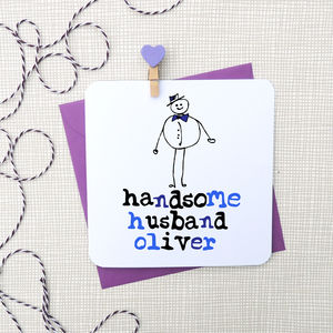 Handsome Husband Personalised Anniversary Card - anniversary gifts