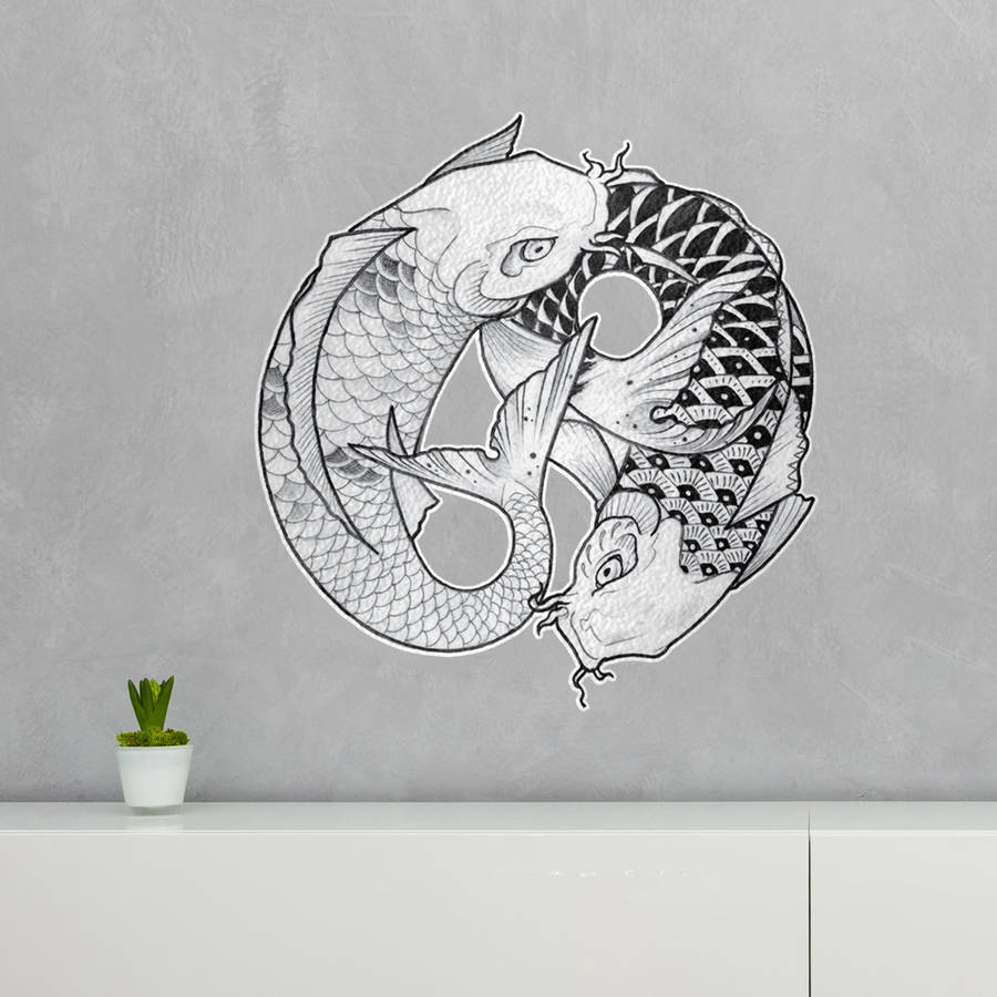 Ying yang koi fish wall art sticker by kitty foster by for Koi fish wall decor
